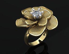 MGold018-2 Flower Ring 3D print model