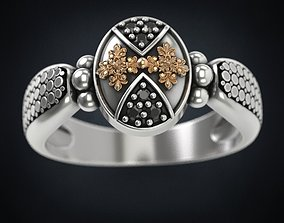 Stylish ring with patterns and stones 3D printable model 2