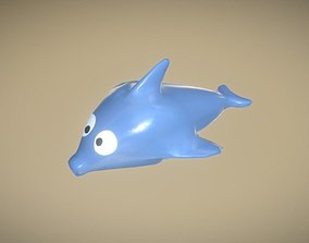 Game Ready Dolphin Plastic Blue Bath Toy Low Poly 3D asset