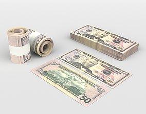3D model money 50 US Dollars