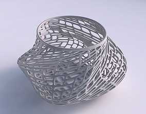 3D print model Bowl twisted elipse with lattice tiles