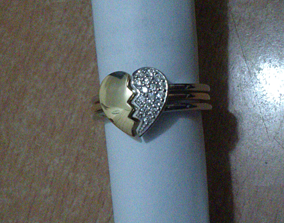 jewelry cracked Heart Ring 3D print model