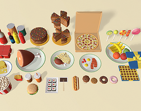 3D asset Cartoon Food Pack