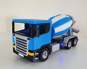 Cement Truck with motorized rotating tank 3D print model