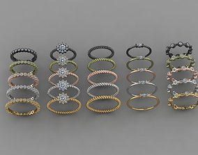 25 pcs trend ring -gold and silver- 3D print model
