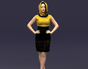 Yellow headscarf woman 0427 3D model