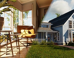 3D model Classic style porch house with furniture