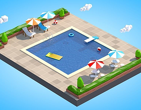 Low Poly Swimming Pool 3D asset game-ready
