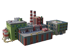 Factory chemical 3D model low-poly