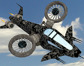 SciFi Copter 3D model low-poly