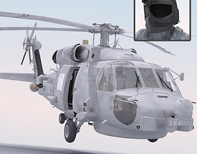 SH60 Seahawk Military Helicopter 3D model rigged