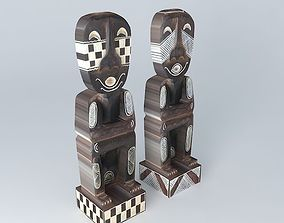 2 statuettes houses the world 3D model