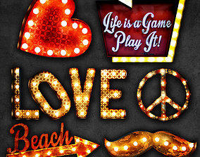 Lighted Metal sign set 10 3D