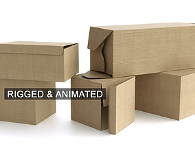 Set of 5 Cardboard Boxes - Rigged and Animated 3D