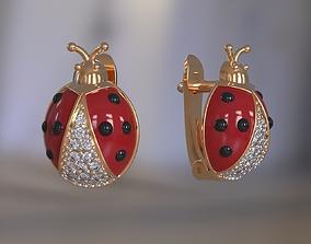 3D printable model Ladybug earrings for girls with enamel