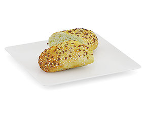 Sliced Bun with Sesame Seeds 3D model