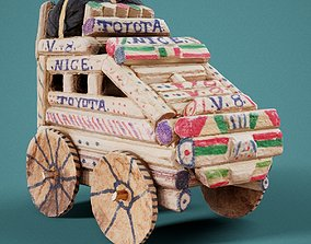 Wooden Toy Car 3D model realtime