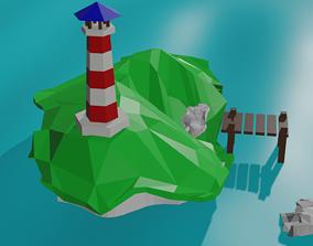 3D asset Island with a lighthouse