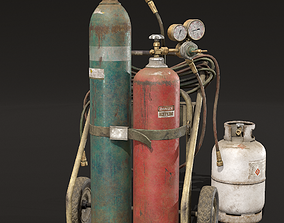 Welder Cart and Gas Canisters 3D model