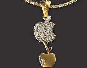 apple pendant 3D print model jewelry
