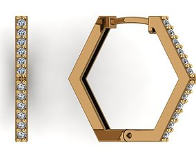 Hexagon gold earrings with diamonds 3D printable model