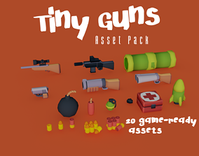 Tiny Guns - Stylized low-poly weapon pack - 20 3D model