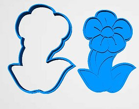 3D printable model cookie cutter flower stamp and cutter