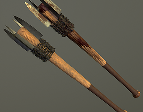 3D model Baseball bat with KNIFES and BARBED