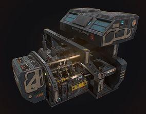 Low poly sci fi robot factory building 3D asset