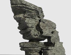 3D asset Low poly Beach Cliff Rock 08