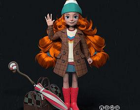 rigged A animation cartoon model of a cute girl by maya