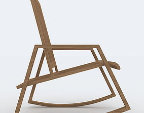 Wood Rocking Chair 3D Model game-ready