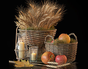 wicker Decorative set with baskets 3D model