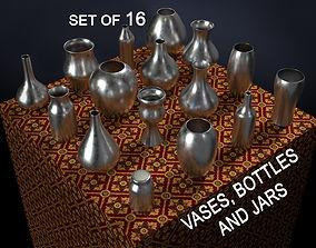 Vases bottles and jars 16 piece set 3D