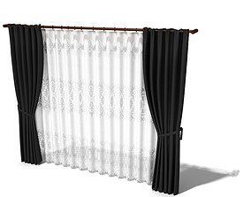 3D model Parted Curtain With Sheers