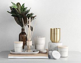 bath Fragrance Collection with Leaves 3D