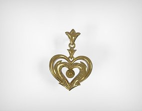 Golden Heart Shaped Earring Jewelry 3D print model