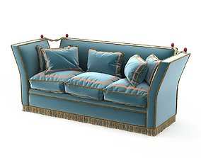 3D 1940s French sofa in blue upholstery