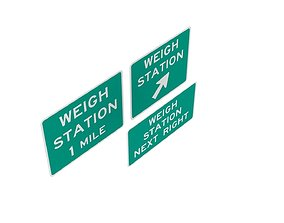 Road Sign US R13 Series Weigh Stations 3D