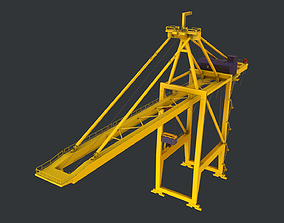 PBR Quayside Container Crane Version 1 - Yellow 3D model
