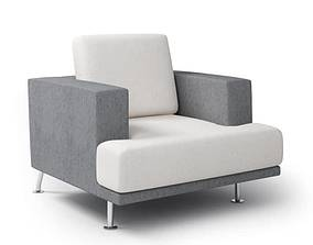 3D model Grey Cushioned Arm Chair