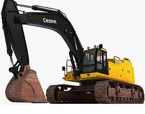 Yellow John Deere Excavator 3D