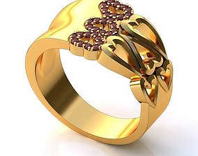 3D printable model Golden Ring with Hearts BK064