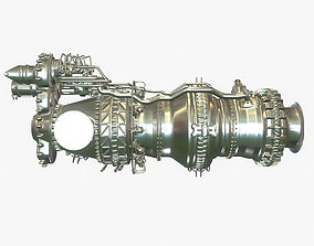 Turboshaft Helicopter Engine 3D