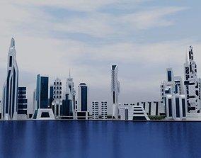 Modern Beach City 3D model