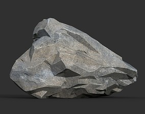 Low poly Gray Rock Formation 01 190421 3D asset