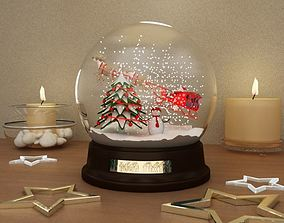 3D year snow globe