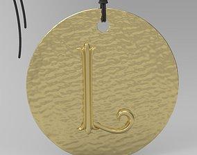 3D printable model Alphabet Latin L gold
