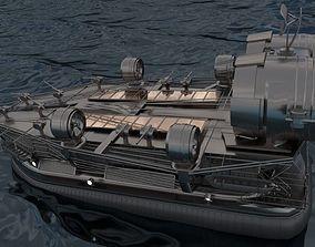 Big Hovercraft design High-Poly 3D animated