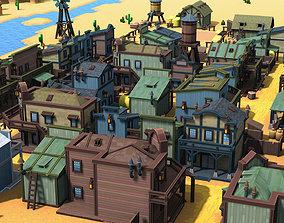 Western Pixel Town 3D asset